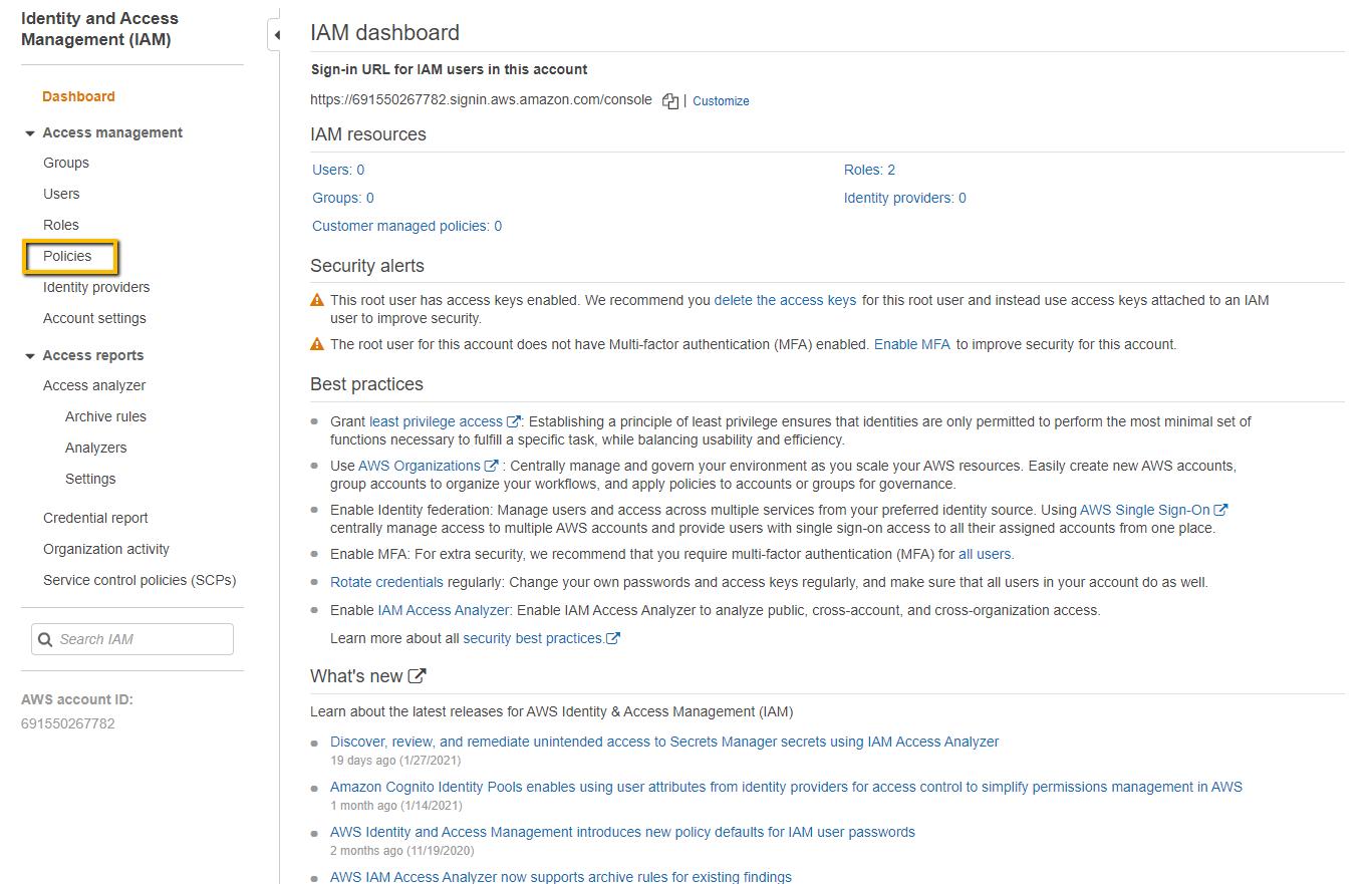 Select S3 AWS Policies